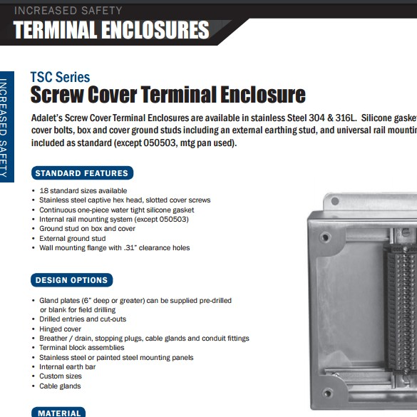 TSC Series Increased Safety Screw Cover Terminal Enclosures